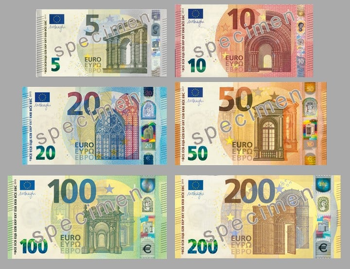 Euro Bills (5, 10, 20, 50, 100 & 200 Euro)