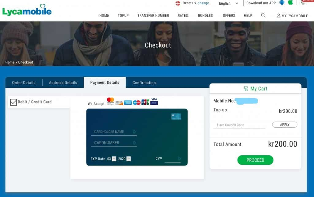 Lycamobile Denmark checkout page