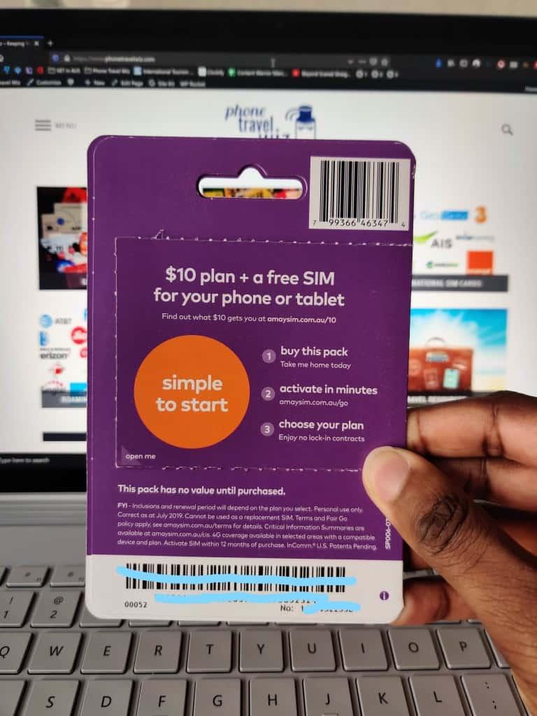 Amaysim Prepaid SIM card starter pack - back