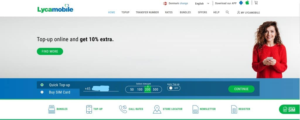 Lycamobile Homepage