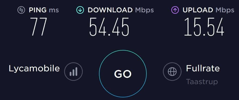 Lycamobile Denmark speed test at my Airbnb in Nykoebing Falster