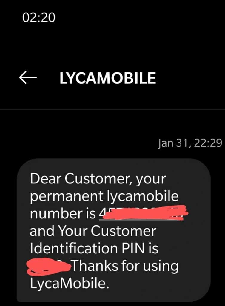 Activation confirmation text from Lycamobile Denmark