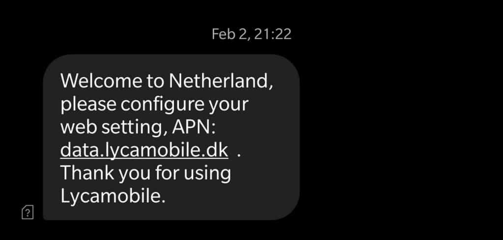 Lycamobile Denmark APN settings for roaming