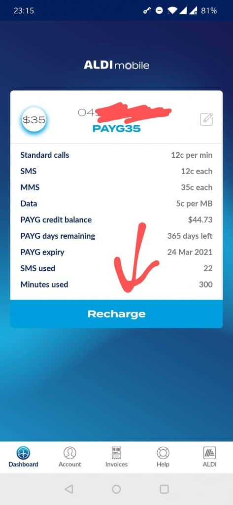 ALDImobile usage shown on the ALDImobile app