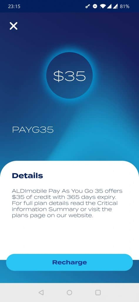 ALDImobile $35 Pay As You Go credit plan shown on the ALDImobile app