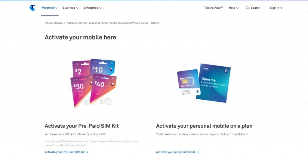 Telstra prepaid SIM card activation instructions