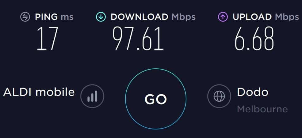 ALDImobile speed test in South Melbourne