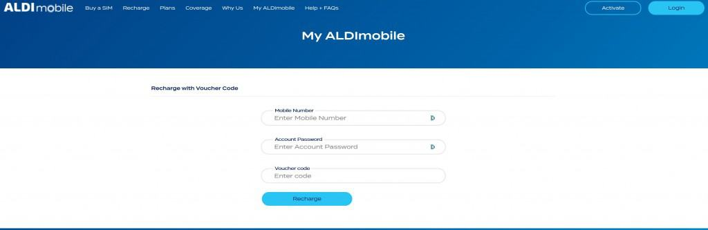 My ALDImobile voucher recharge page