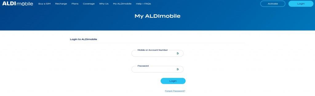 My ALDImobile login page