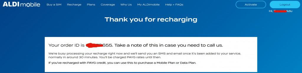 My ALDImobile recharge confirmation