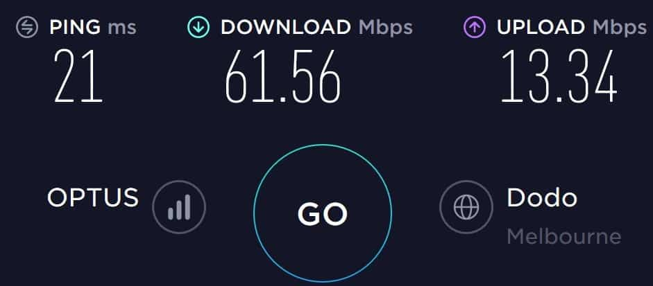 Amaysim speed test in South Melbourne