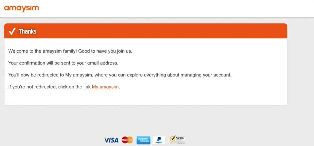 Amaysim SIM card activation confirmation screen