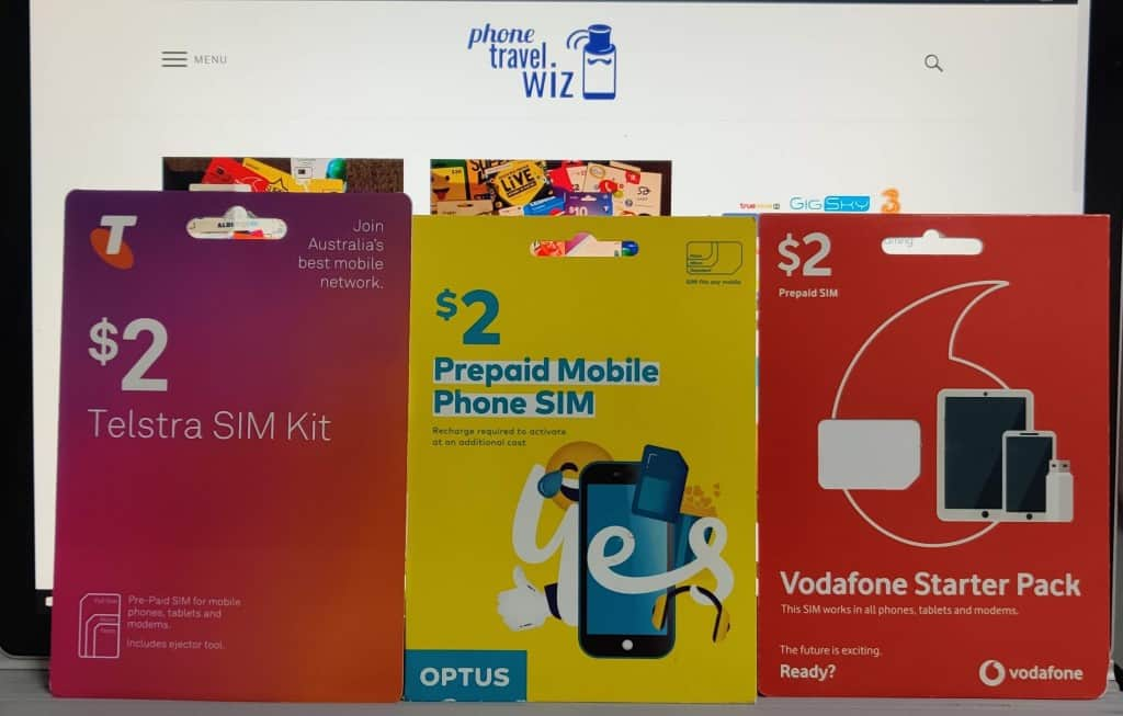 Starter kits of Australian operators: Telstra, Optus & Vodafone Australia