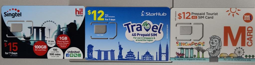 Tourist SIM cards in Singapore: Singtel hi!Touist, StarHub Travel SIM Card, and M1 Tourist SIM Card