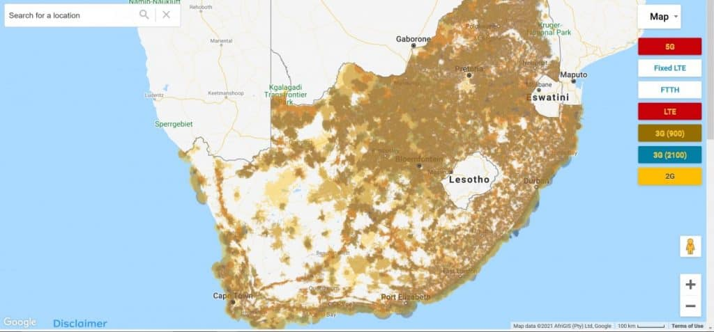 MTN South Africa Coverage Map