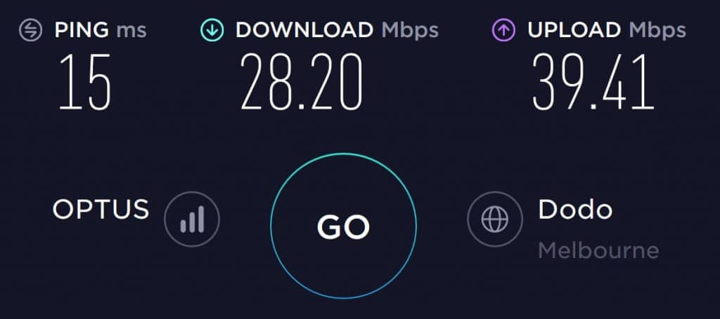 Optus Speed test results at Flinders Station in Melbourne