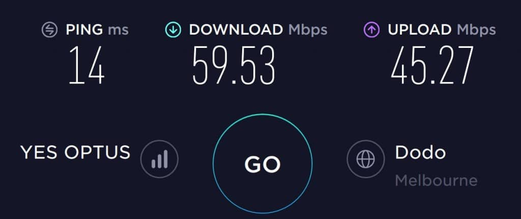Optus Speed test results in South Melbourne