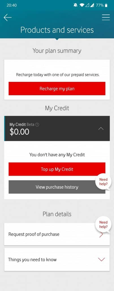 Vodafone Prepaid SIM Card Recharge Instructions for the My Vodafone App
