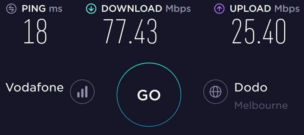Vodafone Speed Test in South Melbourne