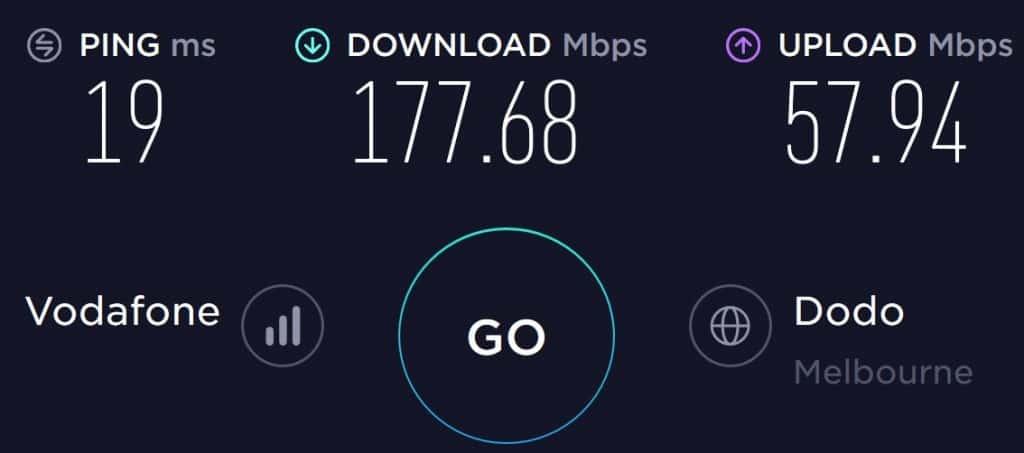 Vodafone Speed Test in Melbourne CBD