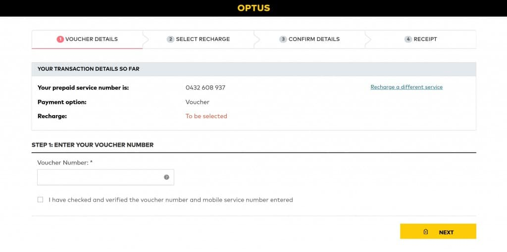 Optus Prepaid SIM Card recharge instructions