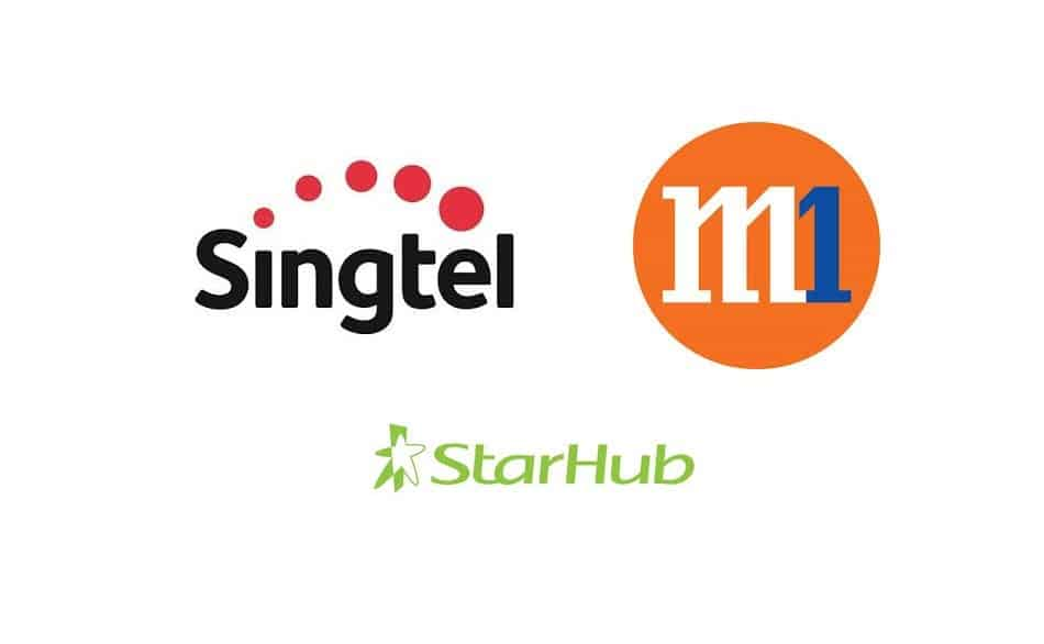 Logos of Telecom Providers in Singapore: Singtel, StarHub, and M1