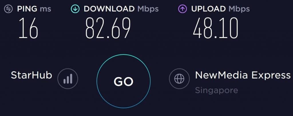 StarHub Speed test in Santosa