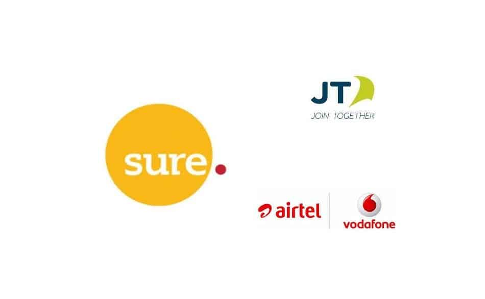 Logos of Telecom Operators in the Channel Islands: Sure Channel Islands, JT Channel Islands, and Airtel-Vodafone