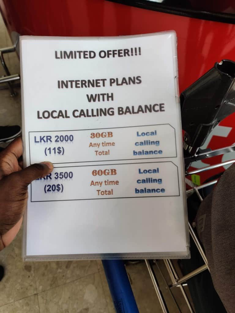 Airtel Sri Lanka data packages offered at Colombo Airport