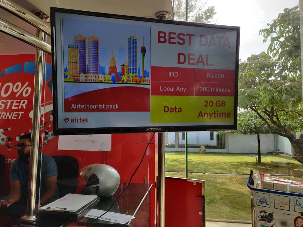 Airtel Sri Lanka tourist pack deal at Colombo Airport