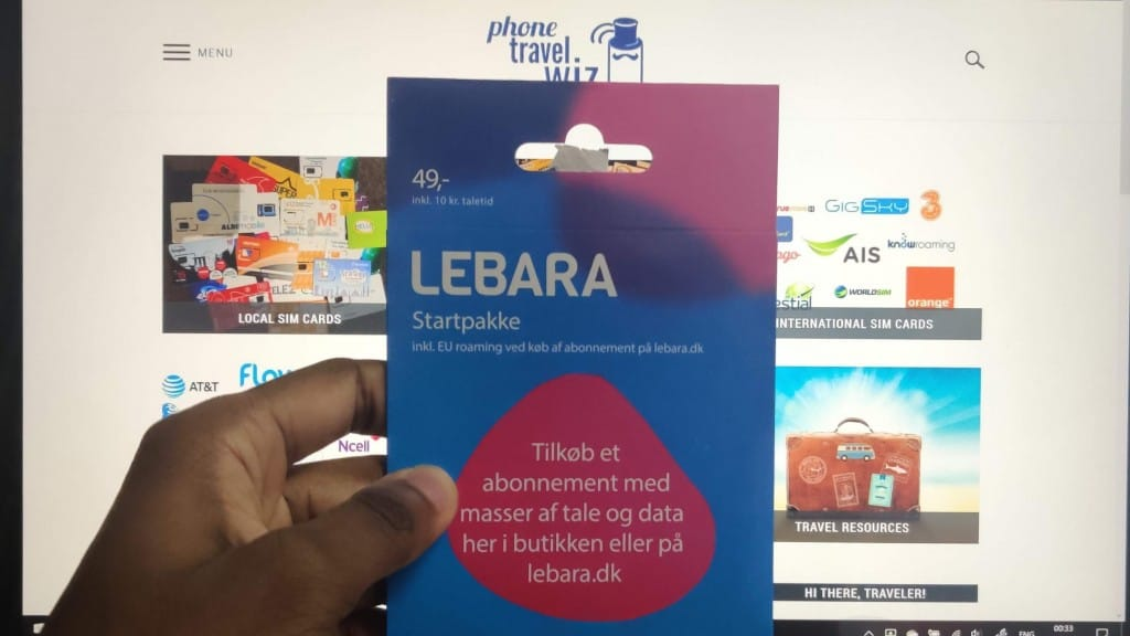 Adu from Phone Travel Wiz holding a Lebara Denmark SIM Card