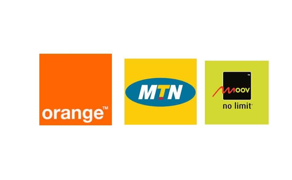 Logos of Telecom Operators in Ivory Coast: Orange Ivory Coast, MTN Ivory Coast, and Moov Ivory Coast