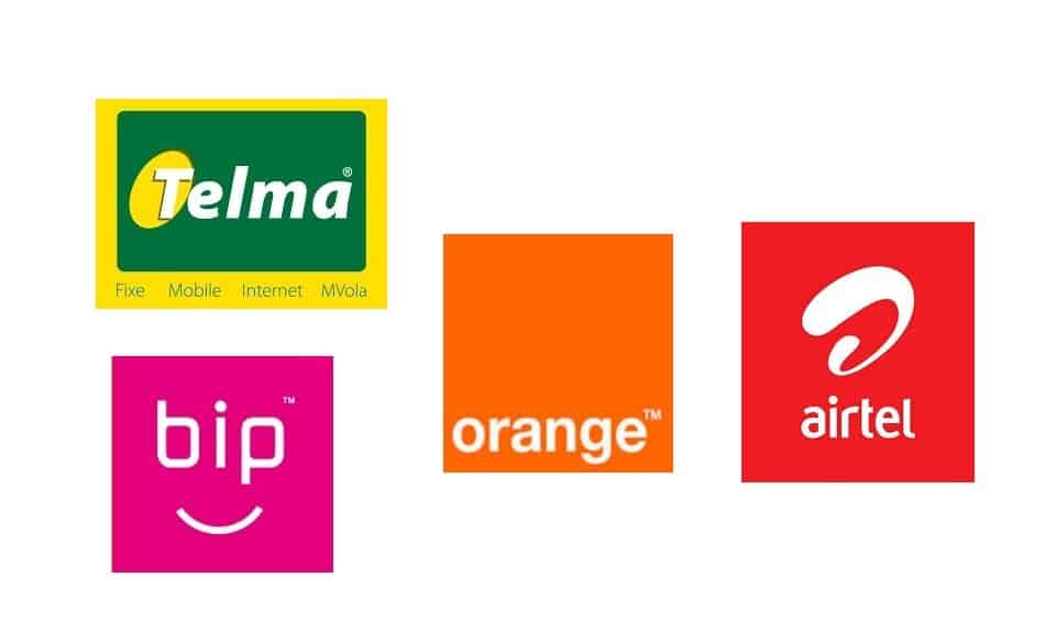 Logos of Telecom Providers in Madagascar: Telma, Bip, Orange Madagascar, and Airtel Madagascar
