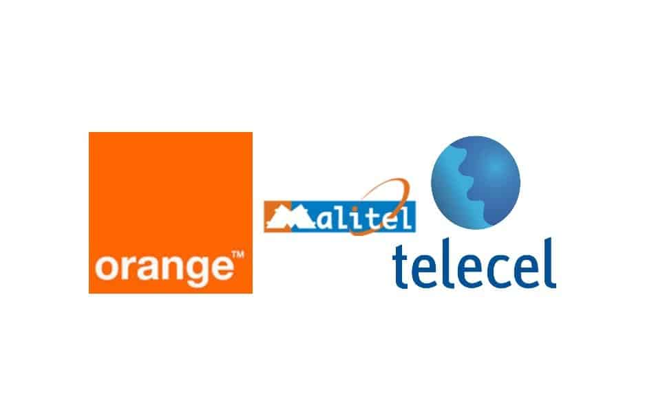 Logos of Telecom Providers in Mali: Orange Mali, Malitel, and Telecel