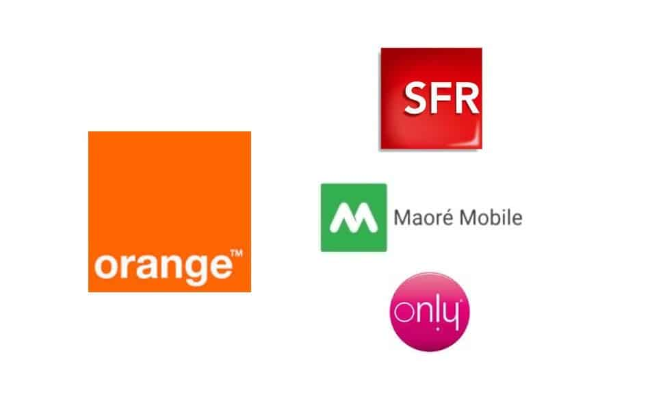Logos of Telecom Providers in Mayotte: Orange Mayotte, SFR Mayotte, Maoré Mobile, and Only Mayotte