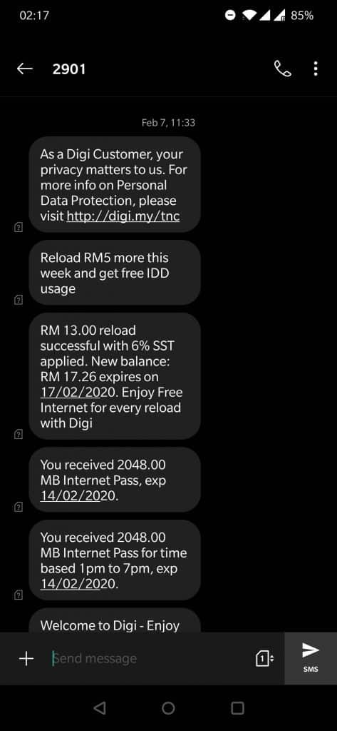 Digi Activation SMS