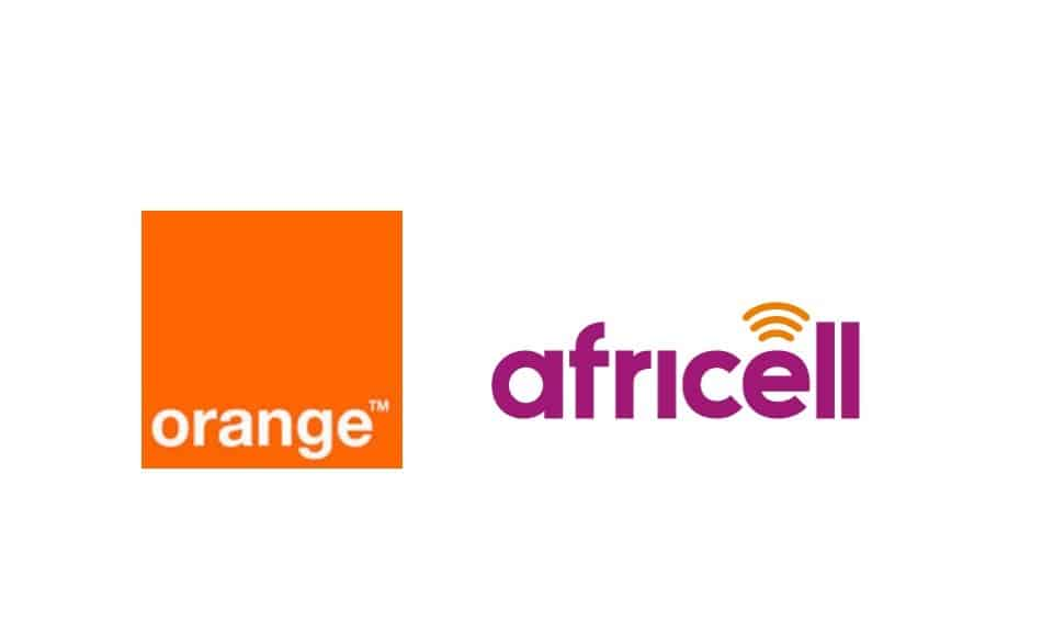 Logos of Telecom Providers in Sierra Leone: Orange Sierra Leone, and Africell Sierra Leone