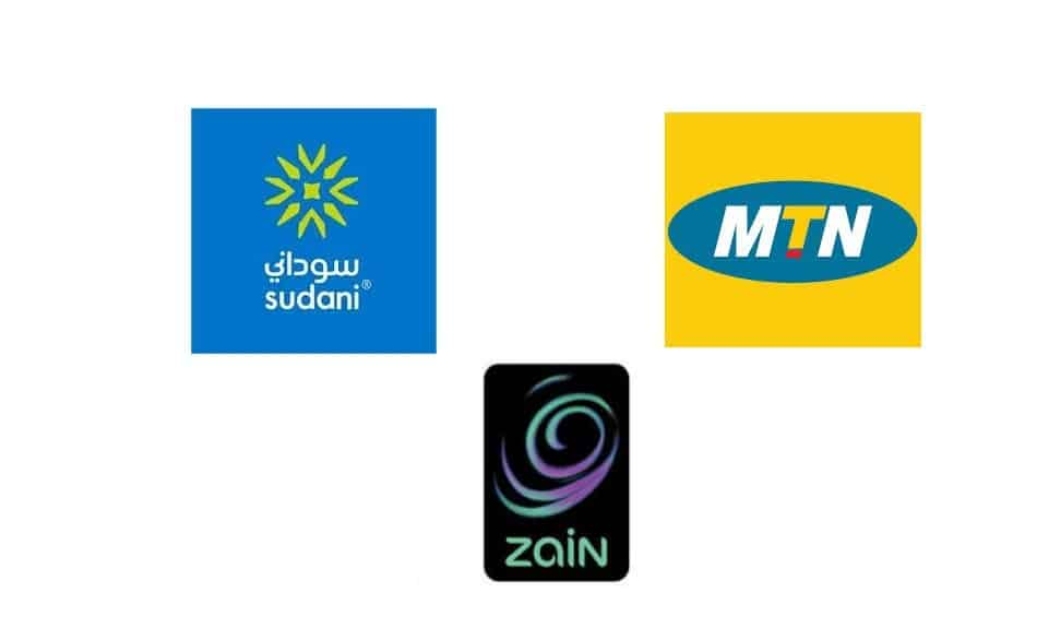 Logos of Telecom Providers in Sudan: MTN Sudan, Sudani by Sudatel, and Zain Sudan