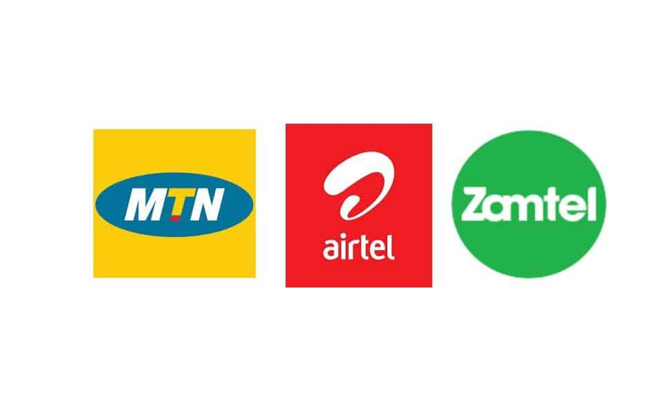 Logos of Telecom Operators in Zambia: MTN Zambia, Airtel Zambia, and Zamtel
