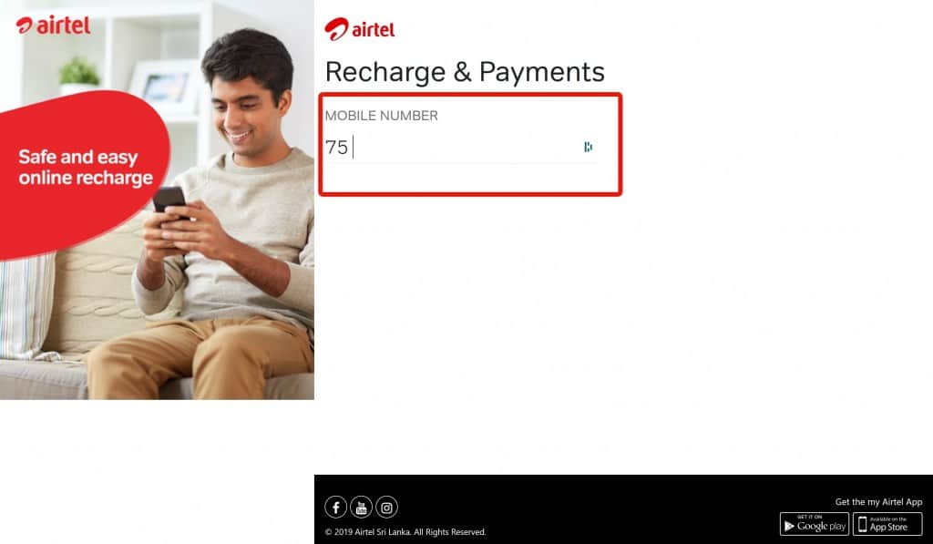 Airtel Sri Lanka Recharge & Payments Page