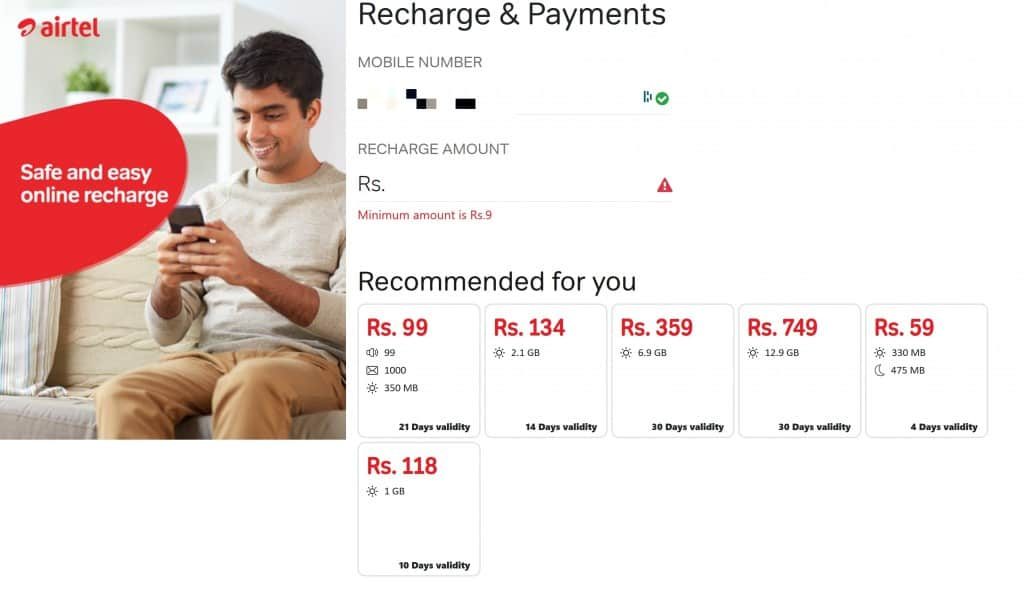 Airtel Sri Lanka Recharge & Payments - reload and plan selection