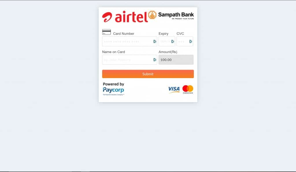 Airtel Sri Lanka Recharge & Payments - payment page