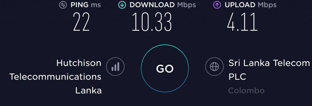 Hutch Speed test in Colombo