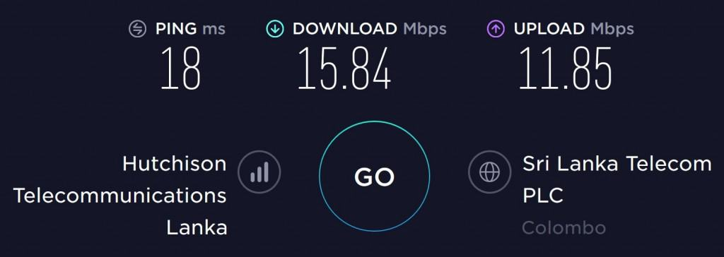 Hutch Speed test at Colombo Airport
