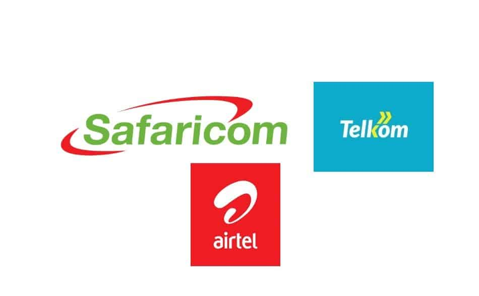Logos of Telecom Providers in Kenya: Safaricom, Telkom (Kenya), and Airtel Kenya