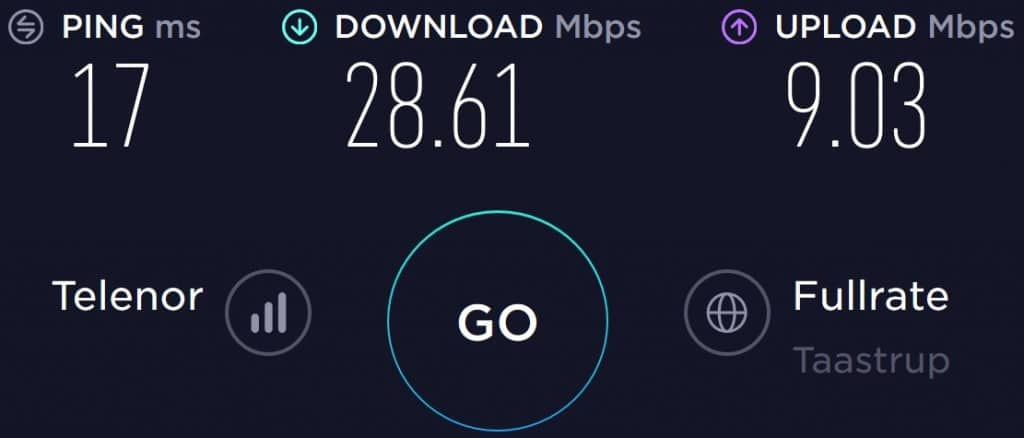 Lebara Denmark speed test in Nykoebing Falster