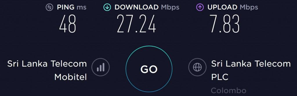 Mobitel Speed test in Colombo