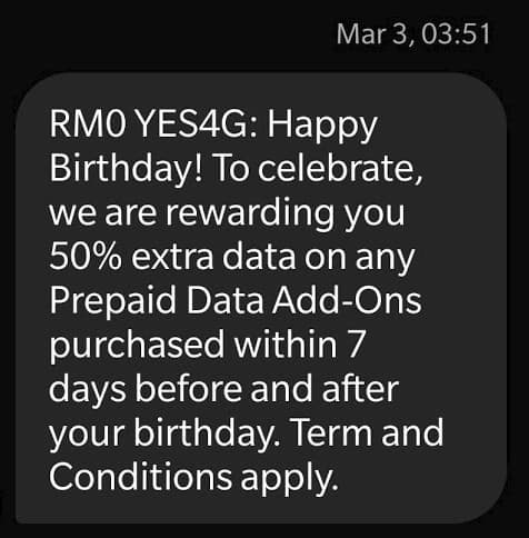 Yes Birthday Offer