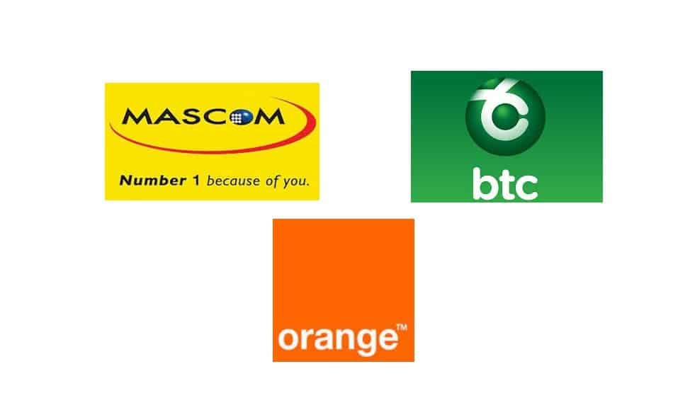 Logos of Mobile Operators in Botswana: Mascom Wireless, BTC Mobile & Orange Botswana