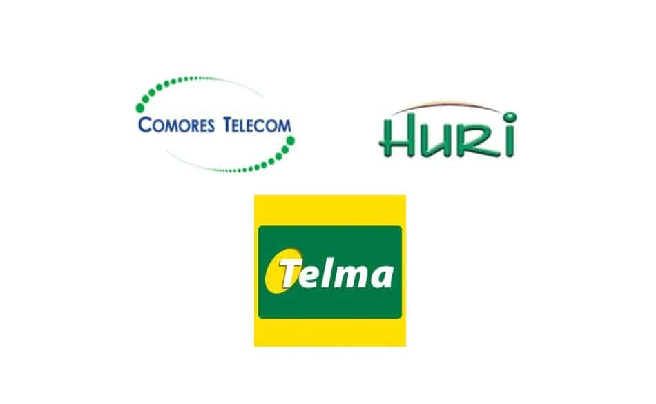 Logos of Telecom Operators in Comoros: Huri by Comoros Telecom & Telma Comoros